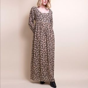 Vintage 90s garden floral empire waist maxi dress